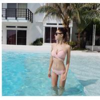 小香风性感交叉绑带比基尼分体温泉泳衣女小胸聚拢显瘦三点式