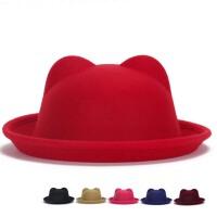 冬季帽子 秋冬英伦毛呢小礼帽 毛呢礼帽 卷边休闲帽子