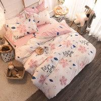 纯棉磨毛床上用品四件套1.5/1.8m全棉床笠加厚秋冬床单被套三件套 粉黛桃花 纯棉磨毛 2.2m(7英尺)床