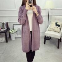 中长款开衫毛衣女秋季韩版宽松针织衫外套上衣女装羊毛衫披肩
