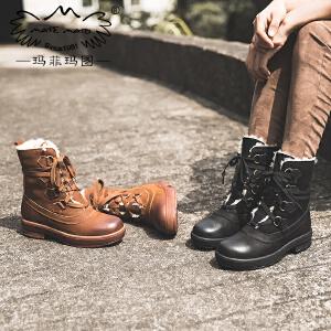 【下单只需要248元】玛菲玛图女鞋秋冬季2017新款真皮中筒靴女士保暖加绒雪地靴休闲系带马丁靴T6-19