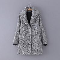 5 女装 冬季新款百搭混色中长款长袖加厚女式大衣毛呢外套
