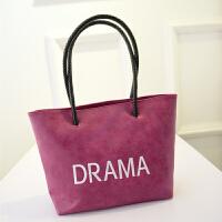 磨砂女包大包包日韩版潮托特包简约时尚休闲手提包单肩包 枚红色 磨砂