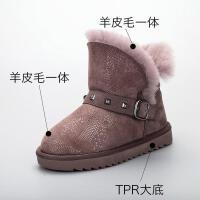 儿童雪地靴羊皮毛一体保暖加厚真皮女孩棉靴防滑子雪地靴女童靴