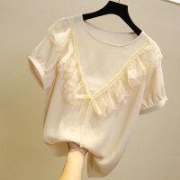 短袖雪纺衫女夏韩版超仙甜美飘逸气质洋气小衫蕾丝拼接上衣新款 米