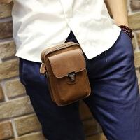 新款手机包韩版男士腰包皮质小包户外休闲迷你挂包新款皮烟包挂包 棕色