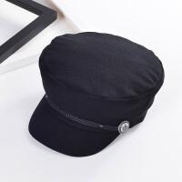 韩版黑色毛呢海军帽子女士秋冬季时尚平顶鸭舌帽英伦贝雷帽潮xx M(56-58cm)