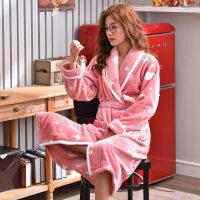 睡袍女冬珊瑚绒睡衣女加厚加长款韩版时尚条纹冬季法兰绒浴袍冬天 悦 A38216女