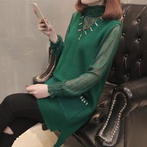 春季新款蕾丝网纱裙中长款毛衣马甲两件套连衣裙女神范潮流套装裙