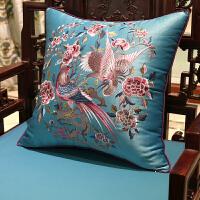 中式古典花鸟刺绣沙发靠垫抱枕欧式床头软包大靠背套汽车腰枕含芯 40X60cm (枕套+内芯)