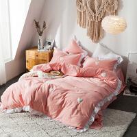 公主风磨毛四件套网红少女心刺绣被套床单荷叶边床上用品