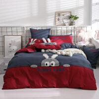 �和�床上用品三件套�棉四件套男孩1.2m床上下�卡通被套1.5m