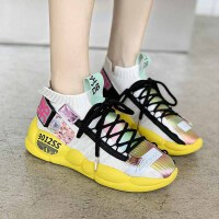 休闲鞋 女士韩版休闲运动鞋2020新款秋季飞织鞋女透气学生老爹休闲鞋女鞋子