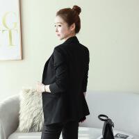 小西装外套女2018新款女秋季韩版职业修身休闲黑色中长款小西服 黑色