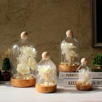 现代简约装饰品摆件木花干花玻璃罩家居装饰品客厅样板房摆设礼品