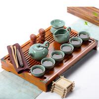 功夫陶瓷茶杯子实木茶盘茶海茶道配件茶艺 整套茶具套装家用