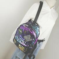 新款时尚亮片双肩包女韩版潮学院风学生书包休闲个性简约背包
