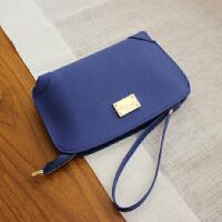 新款牛皮手拿包女韩版简约零钱包女小手包拉链零钱手机包手腕包女SN8767 蓝色 现货