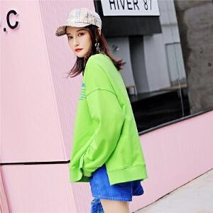 七格格套头抹茶绿卫衣2018新款女秋季韩版宽松学生慵懒字母长袖上衣薄款