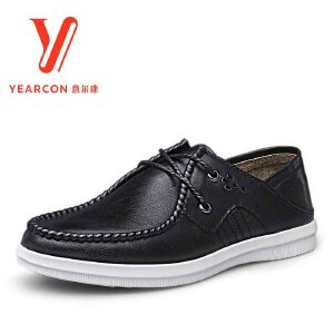 意尔康男鞋2018春季新款真皮系带圆头生活休闲皮鞋舒适男士单皮鞋