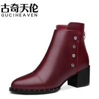 古奇天伦秋冬新款圆头后拉链女靴铆钉粗跟女短靴高跟防水台女鞋子