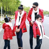 亲棉袄新年潮全家装母女冬季一家三口中长款母子冬装棉衣外套 男童M 80-95CM