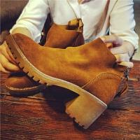 秋季新款粗跟短靴女磨砂真皮马丁靴英伦风后拉链女靴子单靴