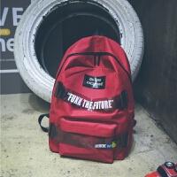 男士运动休闲双肩包女韩版大容量背包校园学生书包帆布潮 红色