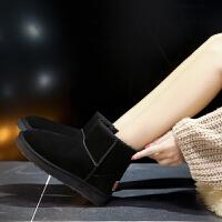 雪地靴女新款短筒真皮加绒加厚平底防滑百搭一脚蹬女士雪地棉