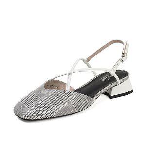 BASTO/百思图2018夏季羊皮革小V口方头后空女凉鞋RID01BH8