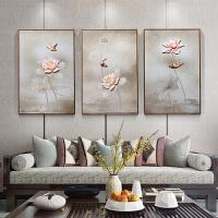 新中式3D浮雕装饰画荷花客厅挂画沙发背景墙画中国风现代餐厅壁画 墨色荷景 60*90CM*3幅 35mm厚板 拼套