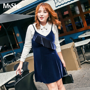 MsShe大码女装2017新款秋装胖mm弹力针织丝绒吊带连衣裙M1740206