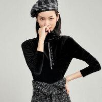 梵希蔓黑色打底衫女长袖秋冬装新款欧货洋气T恤修身高领丝绒上衣c