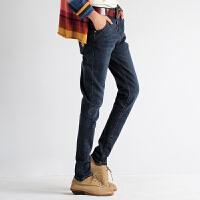 秋款高腰哈伦牛仔裤女长裤大码宽松休闲弹力修身小脚裤 深蓝色