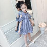 女童连衣裙夏装洋气童装2018新款韩版儿童条纹露肩公主裙女孩裙子 蓝色
