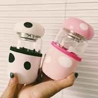 创意蘑菇玻璃杯 便携带盖过滤茶漏带杯套茶杯 学生情侣男女水杯子