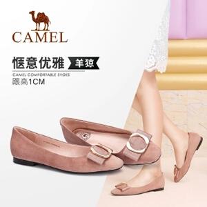 Camel/骆驼女鞋 秋季新品时尚优雅简约金属扣透气圆头单鞋女