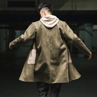 秋冬日系潮牌复古麂皮绒羊羔毛连帽中长款风衣男外套撞色大衣披风