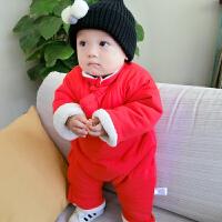 女婴儿连体衣冬季加厚宝宝外出抱衣服6新年秋冬装3新生儿0岁1个月