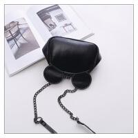 包包新款时尚女包可爱米奇夹子包锁扣包单肩斜挎包链条包 黑色小号 送眼镜包