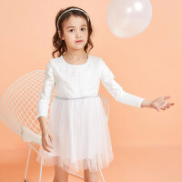 【1件3折到手价:52.5】moomoo童装女童连衣裙新款春装拼接洋气女孩儿童公主裙子