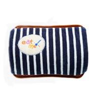 毛绒暖宝红色 充电式热水袋 双插手条纹暖水袋