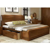 中式实木床1.8米主卧室双人1.5m简约现代高箱储物婚床经济型家具 +2床头柜+椰棕床垫 1800mm*2000mm