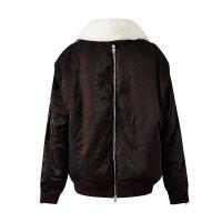 【1件4折到手价:266】美特斯邦威棉服女温暖毛领短款外套个性拉链帅气棉衣冬装新款