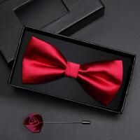 男士伴郎服领结韩版蝴蝶结礼盒装男士亮红光面领结套装