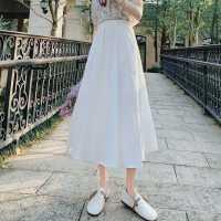 文��@瘦高腰白色半身裙女夏百搭 a字裙中�L款裙子2020年新款夏天