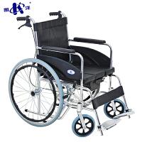 轮椅折叠轻便带坐便老人便携手推车残疾人代步车加厚铝合金轮椅