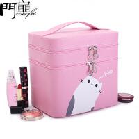 门扉 化妆箱 手提大号化妆包新款双层大容量可爱化妆品箱防水旅行收纳盒便携整理箱