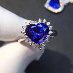 蓝宝石戒指,主石5A级蓝宝石