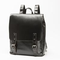 男士背包双肩包男日韩版书包女中学生时尚潮流简约休闲旅行电脑包 黑色